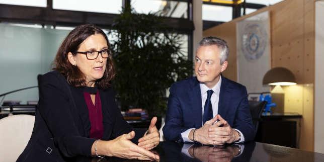 La commissaire européenne au commerce, Cecilia Malmström, et le ministre français de l'économie, Bruno Lemaire, à Paris, le 16 novembre.