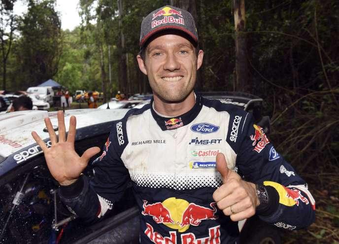Sébastien Ogier après sa cinquième place lors du rallye d'Australie, synonyme de sixième titre mondial, le 18 novembre 2018.