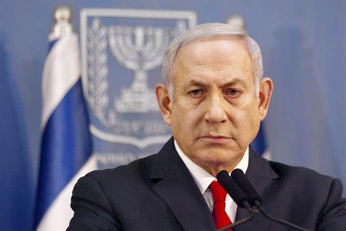 Le premier ministre israélien, Benyamin Nétanyahou, lors de son discours, le 18 novembre, à Tel Aviv.