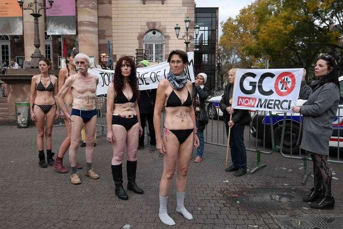 Cinq grévistes de la faim manifestent contre le projet de contournement autoroutier de la ville, à Strasbourg, le 12 novembre.