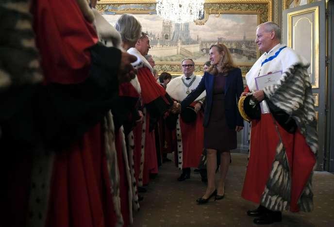 La garde des sceaux Nicole Belloubet lors d'une audience solennelle à la Cour de cassation, à Paris, le 16 novembre.