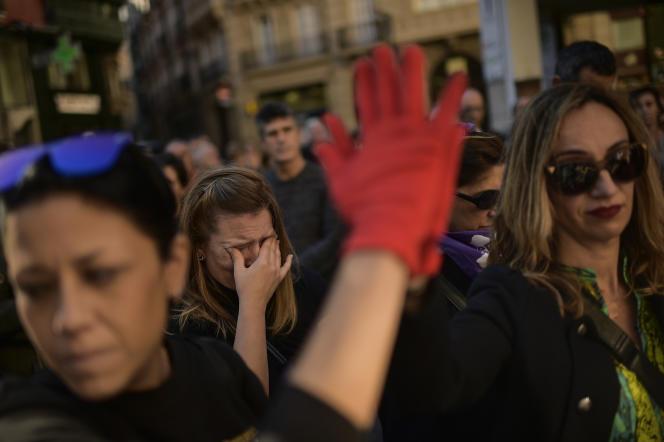 Rassemblement contre les violences faites aux femmes, à Pampelune (Espagne), le 24 octobre.