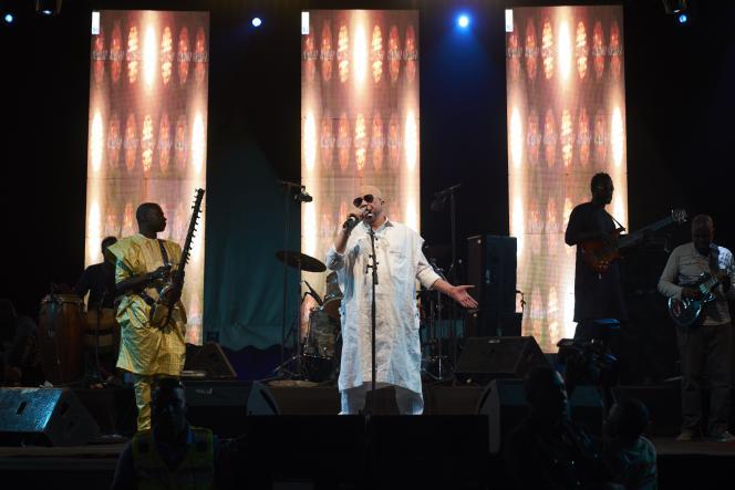Le chanteur et musicien malien Salif Keïta en concert à Fana, le 17 novembre 2018.