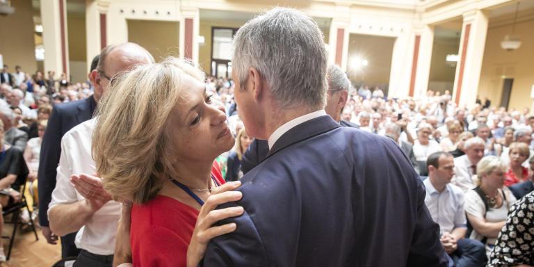 Valérie Pécresse et Laurent Wauquiez participent au Conseil national des Républicains au Palais de l'Europe de Menton, samedi 30 juin 2018 -