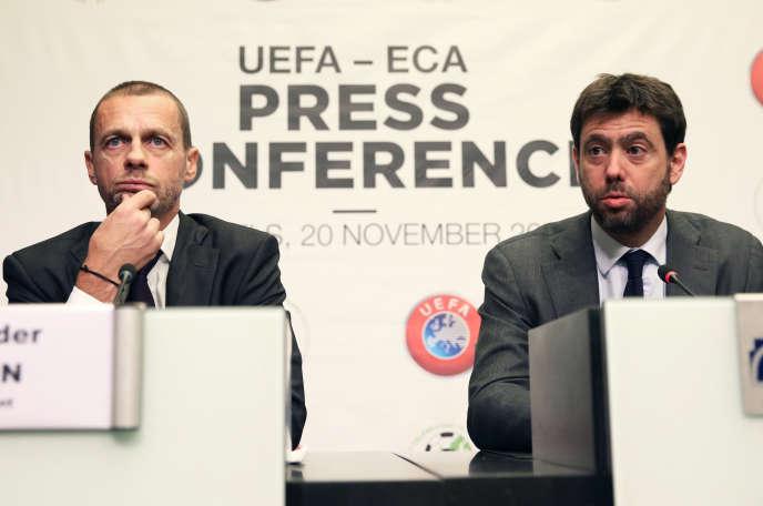 Le président de l'UEFA, Aleksander Ceferin, et Andrea Agnelli, le patron de l'ECA, en novembre 2018.