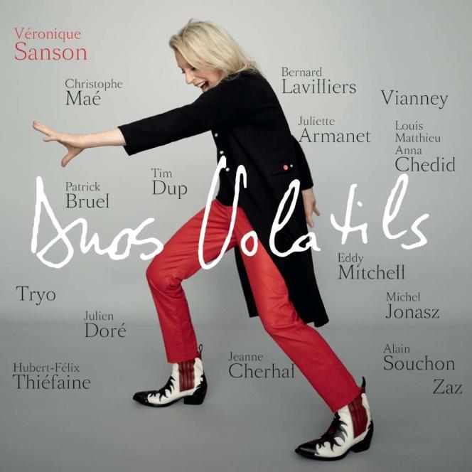 Pochette de l'album« Duos volatils», de Véronique Sanson, avec une quinzaine de chanteuses et chanteurs.
