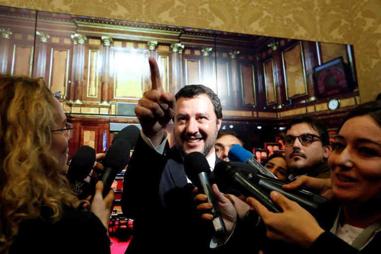 FILE PHOTO: Interior Minister Matteo Salvini speaks to the media at the Senate in Rome, Italy November 6, 2018.  REUTERS/Remo Casilli/File Photo