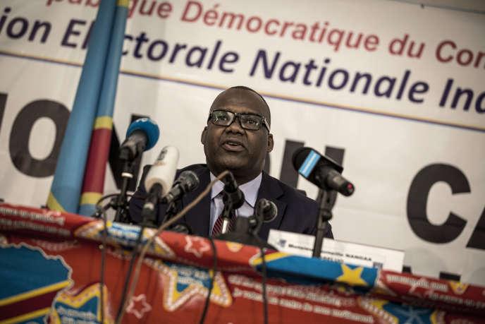 Le président de la Commission électorale nationale indépendante (CENI), Corneille Nangaa, à Kinshasa, le 5 novembre 2017.