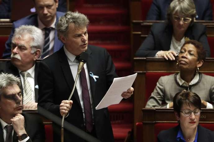Le député PCF Fabien Roussel à l'Assemblée nationale le 3 avril.