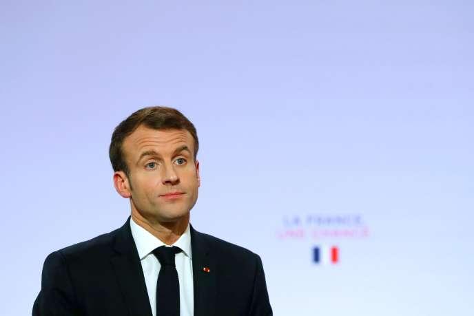 President Emanuel Macron during his speech at Elysee before 2000 mayor on November 21.