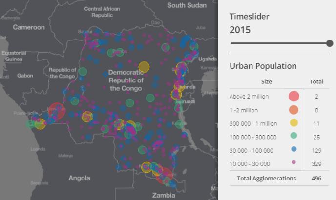 Visualisation des agglomérations en République démocratique du Congo en 2015.