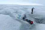 L'AméricainColin O'Brady à l'entrainement pour traverser l'Antarctique.