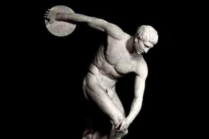 La statue du discobole, attribué au Grec Myron (Ve siècle av. J.-C.).