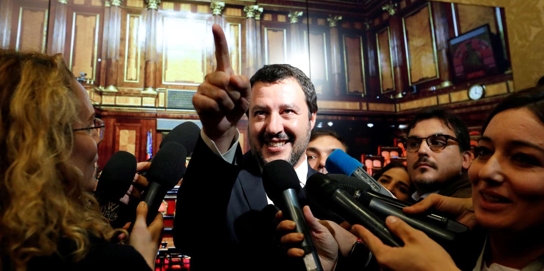 FILE PHOTO: Interior Minister Matteo Salvini speaks to the media at the Senate in Rome, Italy November 6, 2018.  REUTERS/Remo Casilli/File Photo