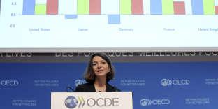 Laurence Boone, chef économiste de l'OCDE, lors de la présentation des Perspectives économiques intermédiaires, le 20 septembre, à Paris.
