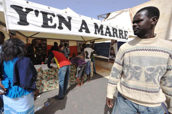 Une « Foire aux problèmes» organisée par le mouvement Y en a marre, à Dakar, enjanvier 2012.