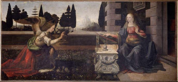 «L'Annonciation», peinture de Léonard de Vinci, datant des années 1472-1475, et exposée au Musée des Offices, à Florence.