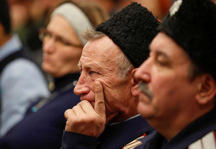 Lors d'uneréunion d'anciens combattants sur le mercenariat russe, à Moscou, le 18novembre.