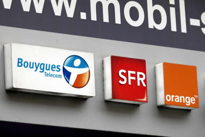 Logos des opérateurs de télécoms Bouygues Telecom, SFR, and Orange.