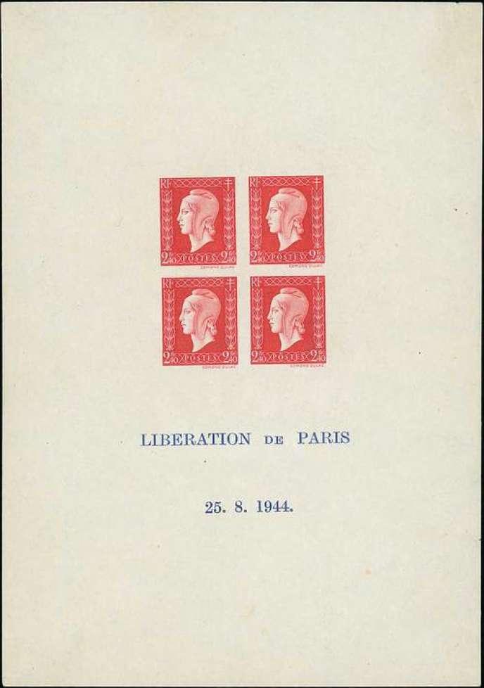 14000 euros pour ce bloc-feuillet exceptionnel émis en 1944 connu à deux exemplaires légende sur deux lignes au lieu de quatre dans sa version standard.