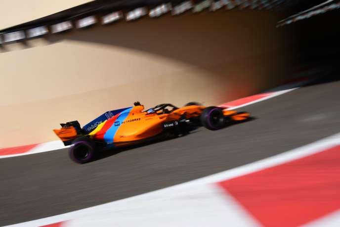 Livrée spéciale pour la McLaren de Fernando Alonso qui court, le 25 novembre, son dernier Grand Prix de F1 à Abou Dhabi.