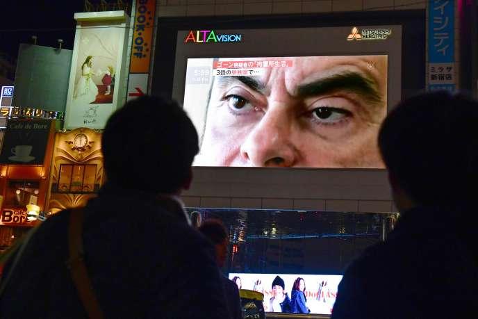 Dans une rue de Tokyo, le 22 novembre 2018, jour de l'arrestation de Carlos Ghosn.