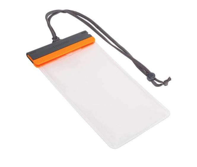La pochette étanche Decathlon Tribord pour grand téléphone est dotée d'une fermeture à zip doublée d'une sécurité.
