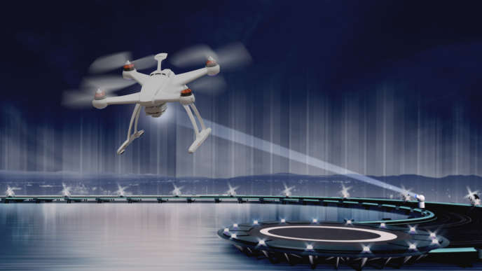 L'alimentation électrique du drone est réalisée en braquant sur lui un faisceau laser.
