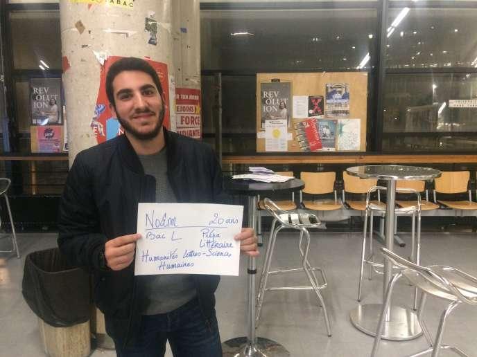 Noâm, 20 ans, en classe préparatoire littéraire à Paris