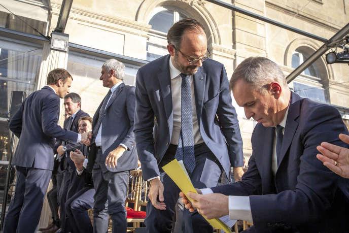 Le premier ministre Edouard Philippe et le ministre de la transition écologique François de Rugy, le 27 novembre à l'Elysée.