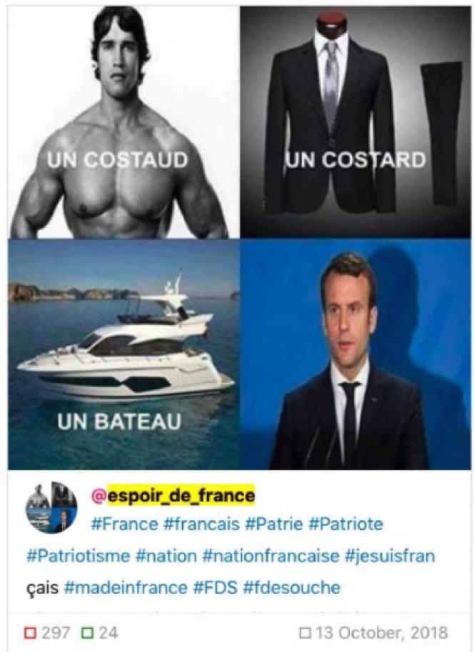 Saisie d'écran d'un des comptes ayant diffusé des messages problématiques en français sur Facebook et Instagram.