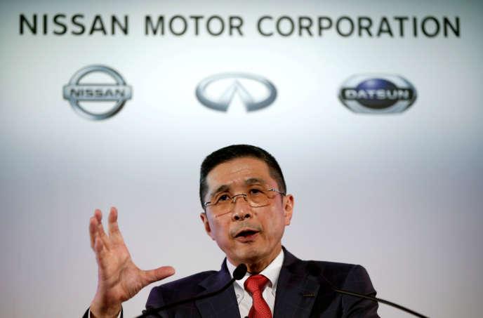 Le directeur général de Nissan, Hiroto Saikawa, au siège du constructeur à Yokohama, au Japon, en mai 2017.