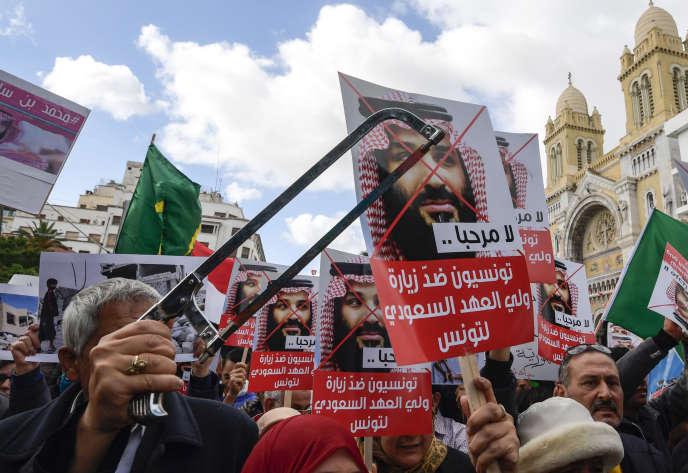 Manifestation à Tunis contre la venue du prince héritier saoudien Mohammed Ben Salman, le 27 novembre.
