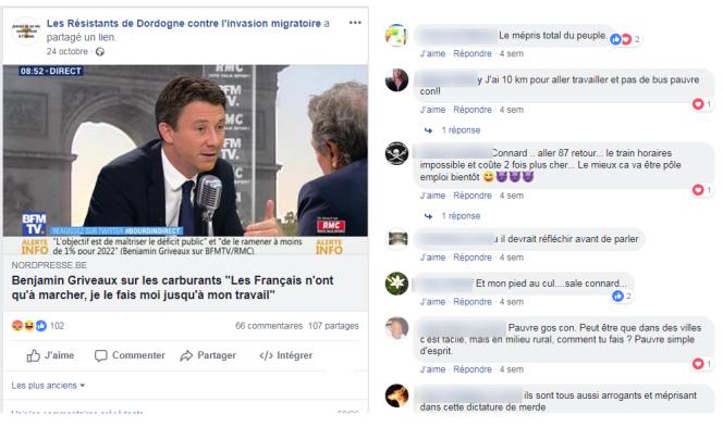 Capture d'écran d'une page Facebook d'extrême droite qui a relayé au premier degré un article du site parodique belge Nordpresse.