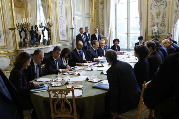 Installation du Haut Conseil pour le climat par Emmanuel Macron, président de la République, au Palais de l'Elysée à Paris, mardi 27 novembre.