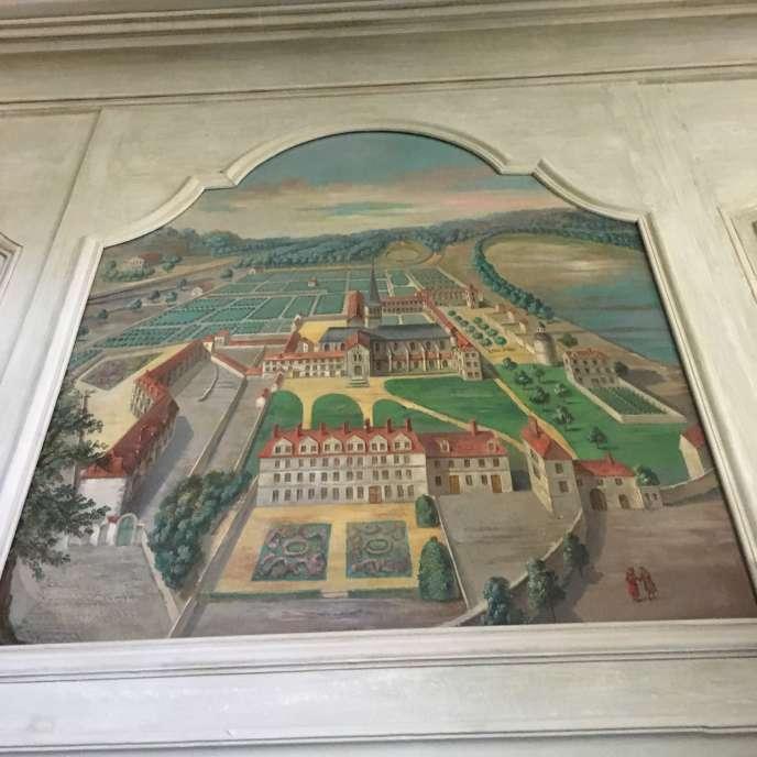 Dessus-de-porte, dans une des salles du musée de Port-Royal, représentant le domaine avant la destruction de l'abbaye au début du XVIIIe siècle, probablement inspiré d'une gravure de l'époque.