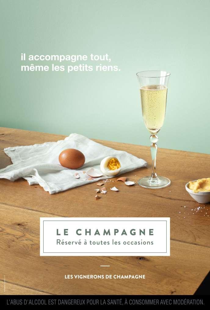 La campagne de publicité du Syndicat général des vignerons de la Champagne, en 2018.