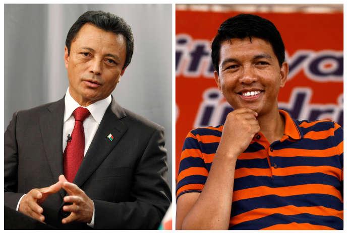 Marc Ravalomanana (à gauche) et Andry Rajoelina.