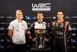 A la veille du dernier rallye, trois pilotes peuvent prétendre à la victoire , de gauche à droite : l'Estonien Ott Tanak (Toyota), Sébastien Ogier (M-Sport) et le Belge Thierry Neuville (Hyundai).