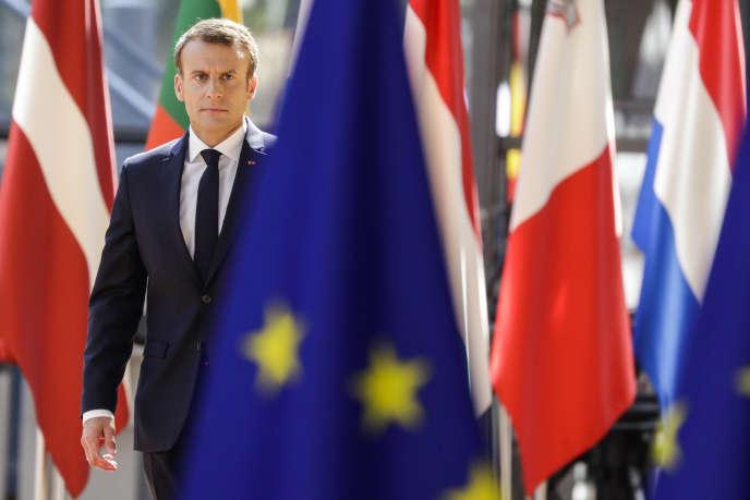 Emmanuel Macron, lors du sommet européen du 29 juin 2018, à Bruxelles.