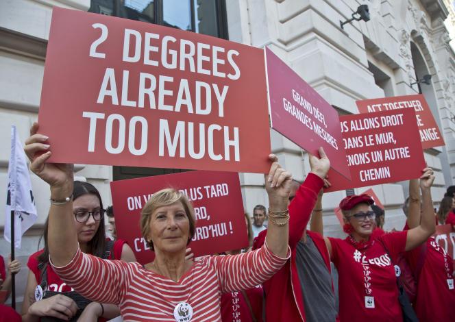 « Deux degrés, c'est déjà trop», peut-on lire sur cette pancarte brandie lors d'une manifestation pour le climat, à Paris, le 13 octobre 2018.