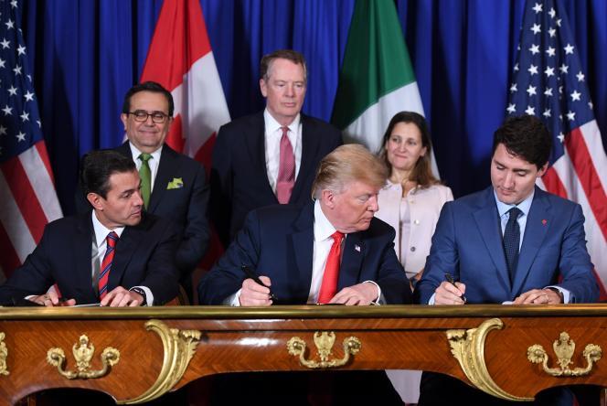 Les trois chefs d'Etat d'Amerique du Nord signent le nouveau traité durement négocié ces derniers mois.