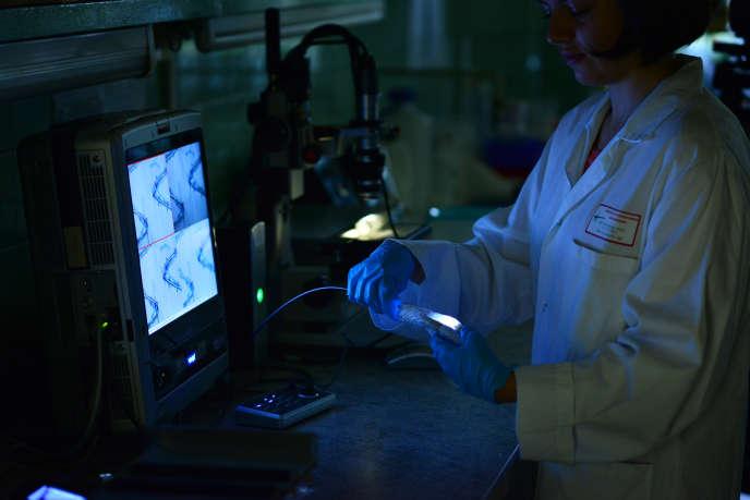 Analyse d'explants cardio-vasculairesàl'hôpital de Strasbourg, le 11 octobre.