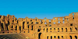 L'amphitéâtre de Bulla-Regia, dans la moyenne vallée de Medjerda, au nord-ouest de la Tunisie.