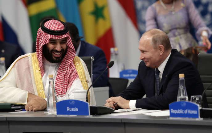Le prince héritier saoudien, Mohammed Ben Salman, et le président russe, Vladimir Poutine, lors du sommet du G 20, à Buenos Aires, le 30 novembre.