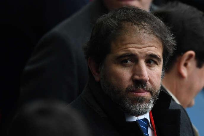 Le vice-président de la Fédération française de Rugby, Serge Simon, dans les tribunes du stade de France, en mars 2017.