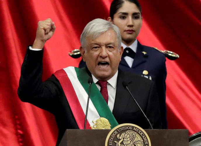 Le nouveau président du Mexique,Andres Manuel Lopez Obrador, lors de sa cérémonie d'investiture, au Congrès de Mexico, le 1er décembre 2018.