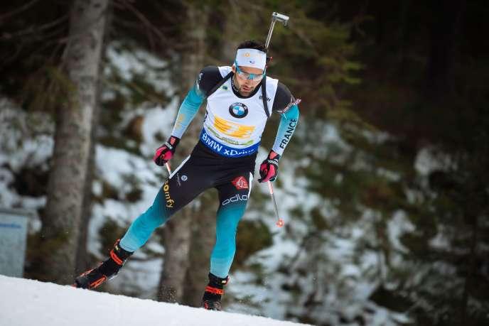 Martin Fourcade, durant son relais mixte victorieux le 2 décembre à Polkjuka, enSlovénie.