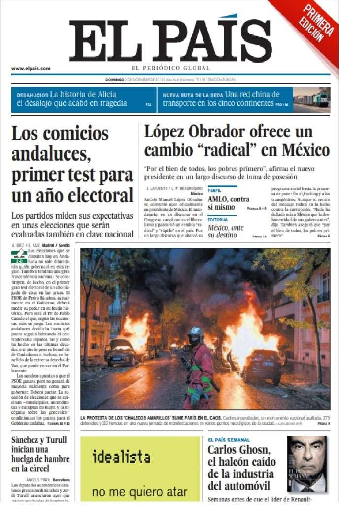 «La révolte des gilets jaunes sème le chaos à Paris», peut-on lire sous une photo de voitures en flammes,en«une» du journal «El Pais» daté du dimanche2 décembre.