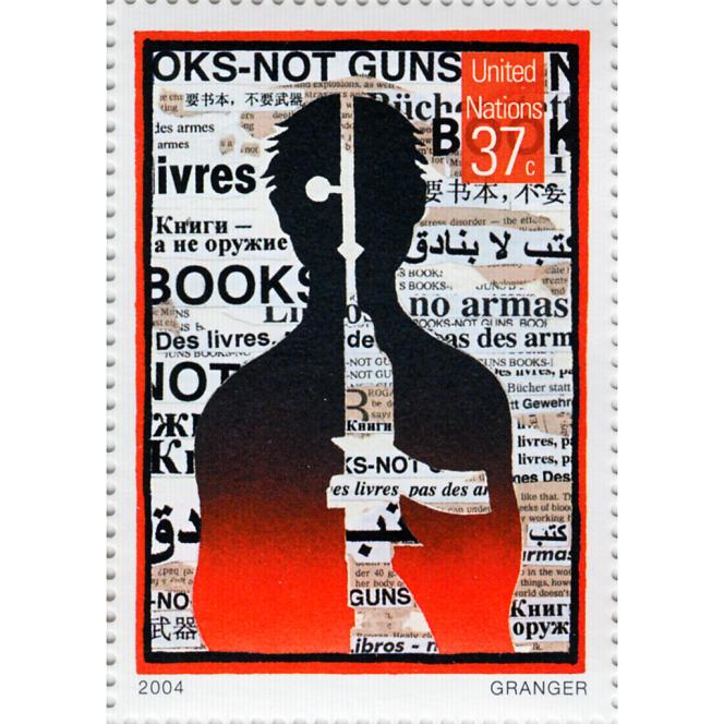 « Books not Guns», timbre des Nations unies de 2004.